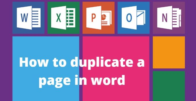 How to duplicate a page in word